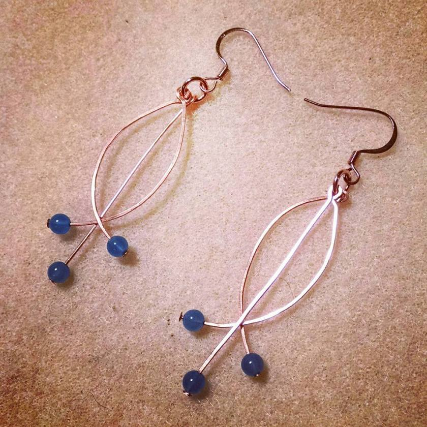 Brass and blue agate earrings