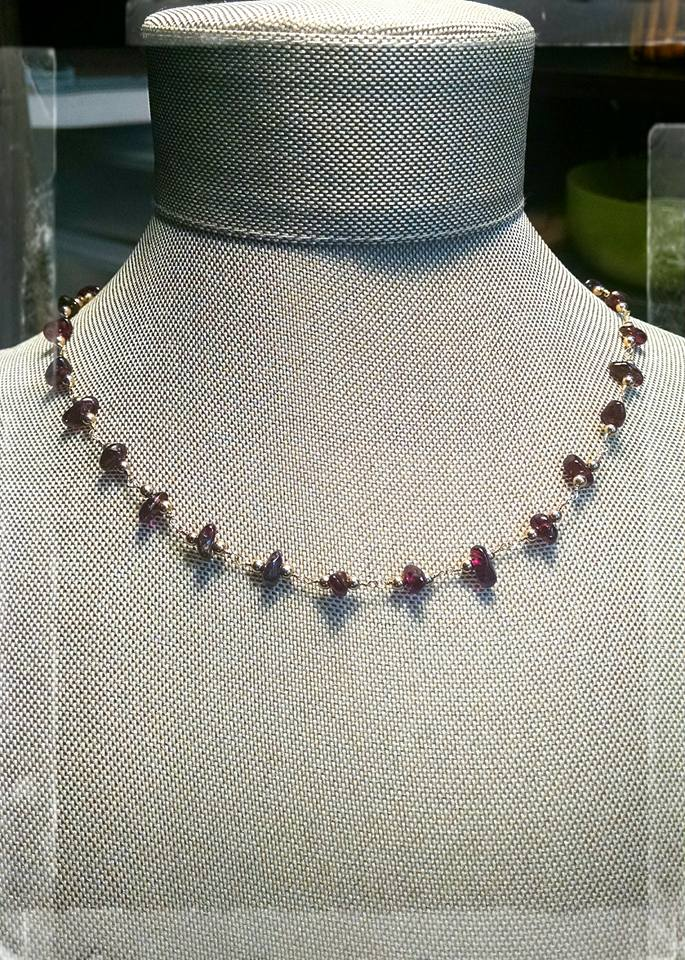 Garnet chain necklace